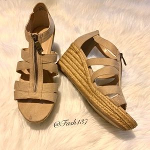 RALPH LAUREN KELCIE OPEN TOE CANVAS WEDGE HEEL